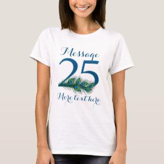 Camiseta 25o t-shirt personalizado do texto do aniversário