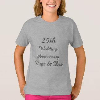 Camiseta 25o Tipografia de prata chique do aniversário de