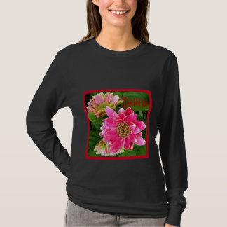 Camiseta 2 profundo - dálias cor-de-rosa