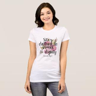 Camiseta 31:25 dos provérbio é vestida na força