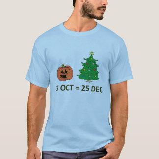 Camiseta 31 de outubro = o 25 de dezembro