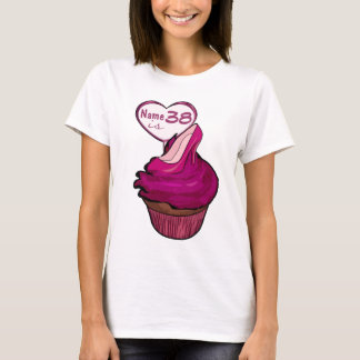 Camiseta 38th T-shirt do cupcake do aniversário