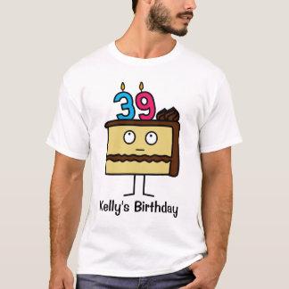 Camiseta 39th Bolo de aniversário com velas