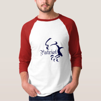 Camiseta 3/4 de t-shirt do patriota da luva de Raglan