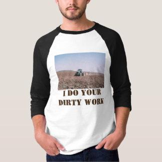 Camiseta 3/4 de t-shirt do trabalho sujo do trator