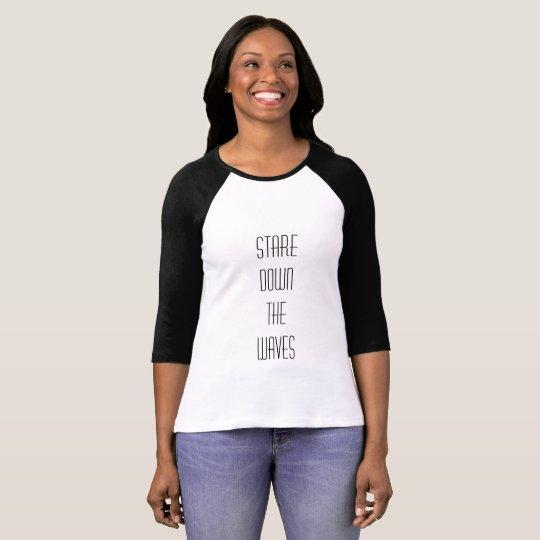 Camiseta 3/4 Feminina Branca e Preta Tam.: M