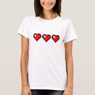Camiseta 3 corações vermelhos do pixel