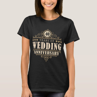 Camiseta 40th Aniversário de casamento (esposa)