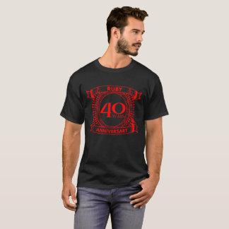 Camiseta 40th crista do rubi do aniversário de casamento