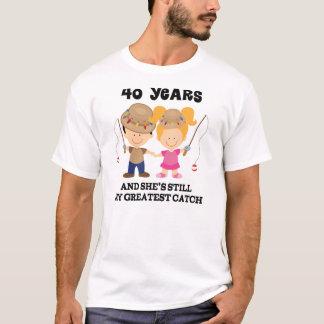 Camiseta 40th Presente do aniversário de casamento para ele