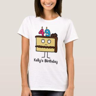 Camiseta 49th Bolo de aniversário com velas