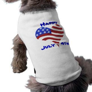Camiseta 4 de julho   design do coração da bandeira - T do