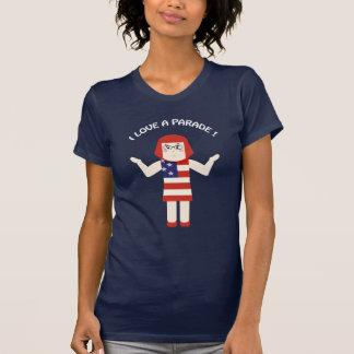 Camiseta 4 de julho eu amo um t-shirt do galão da parada