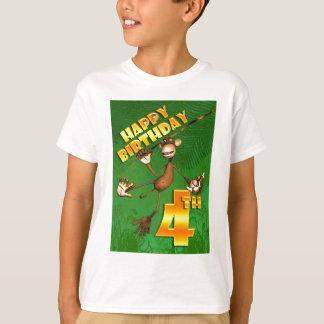 Camiseta 4o banana feliz do macaco do aniversário
