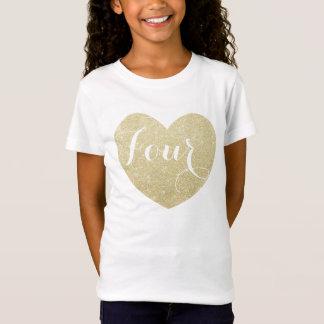 Camiseta 4o Coração do brilho da menina do aniversário