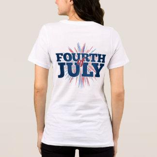 Camiseta 4o do t-shirt das mulheres de julho