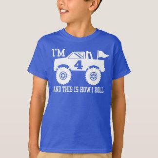 Camiseta 4o Monster truck do aniversário