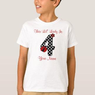 Camiseta 4o T-shirt personalizado joaninha do aniversário