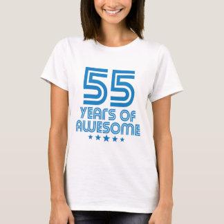 Camiseta 55 anos de 55th aniversário impressionante