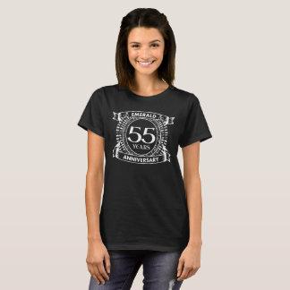 Camiseta 55th crista da esmeralda do aniversário de