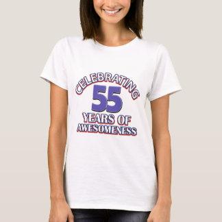 Camiseta 55th design do aniversário dos anos de idade