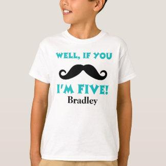 Camiseta 5o Bigode do aniversário personalizado