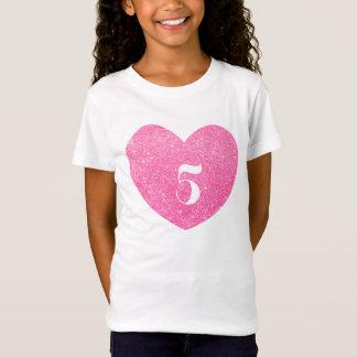 Camiseta 5o Coração do rosa do brilho do aniversário