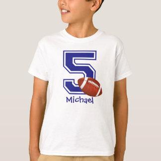 Camiseta 5o Futebol do menino do aniversário personalizado