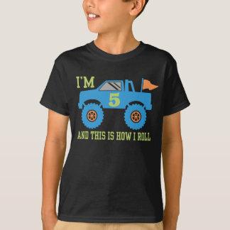 Camiseta 5o Monster truck do aniversário