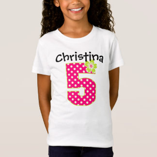 Camiseta 5o Pontos do rosa quente & do verde da menina do