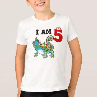 Camiseta 5o presente do menino do aniversário (lagarto