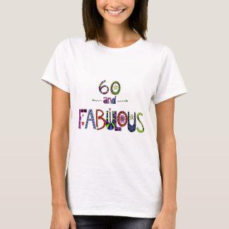 Camiseta 60 e fabuloso, 60 anos velho, 60th aniversário