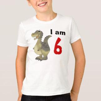 Camiseta 6a ideia do presente do dinossauro do aniversário