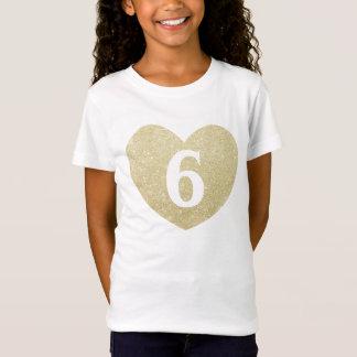 Camiseta 6o Coração do brilho da menina do aniversário
