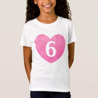 Camiseta 6o Coração-Impressão do brilho do falso do