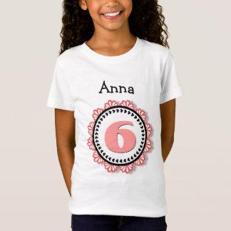 Camiseta 6o Laço grande V58A do nome do número da menina do