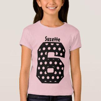 Camiseta 6o Nome feito sob encomenda V07F das bolinhas da