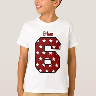 Camiseta 6o Nome grande V03A9 do número do teste padrão de