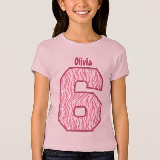 Camiseta 6o Nome grande V04 do número da zebra da menina do
