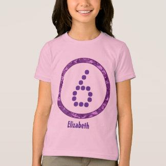 Camiseta 6o O círculo do aniversário CAMO pontilha o número