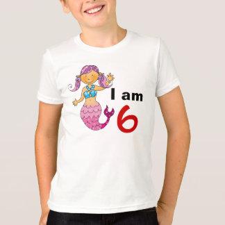 Camiseta 6o presente de aniversário para uma menina, sereia