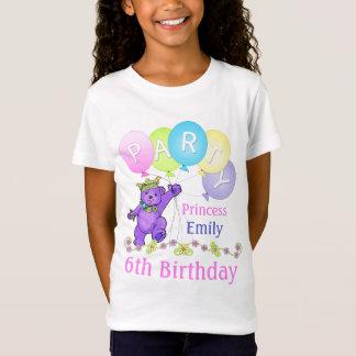 Camiseta 6o Princesa do aniversário, nome feito sob
