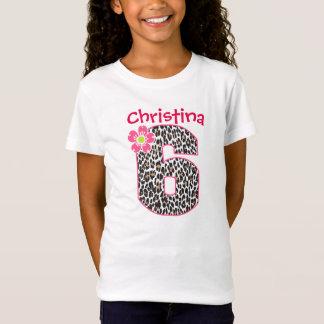 Camiseta 6o Rosa quente da menina do aniversário &
