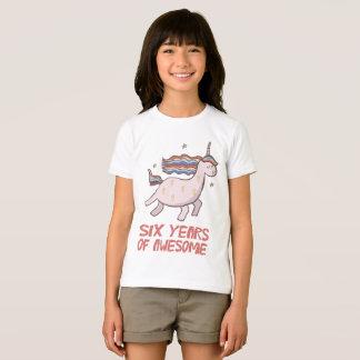 Camiseta 6o T-shirt do presente de aniversário seis anos de