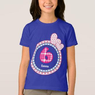 Camiseta 6o Teste padrão V15 da xadrez dos corações do