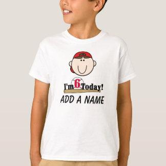 Camiseta 6o Tshirt personalizado do aniversário do basebol