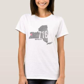 Camiseta 716 silhueta dos Estados de Nova Iorque do búfalo