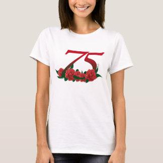 Camiseta 75th rosa vermelha número 75 do aniversário