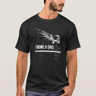 Camiseta 7 pecados mortais brancos no preto