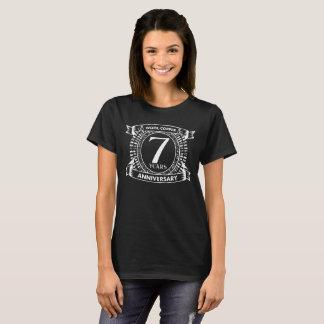 Camiseta 7o cobre de lãs do aniversário de casamento